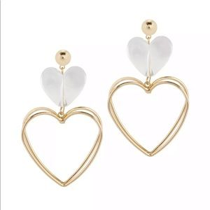 ✨ Clear Heart Gold Dimensional Earrings